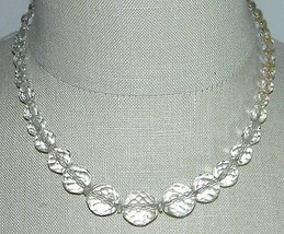 VTG Silver Tone Faceted Clear Cut Crystal Beaded Art Deco Choker Necklace C - $39.60