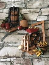 Vintage Lot of 2 Home Interiors Homco Metal Wall Decor Cider Press Corn ... - $14.85