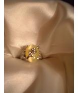 Yellow Cats Eye Flower Ring  Bargain Bin Under $10.00 - $5.99