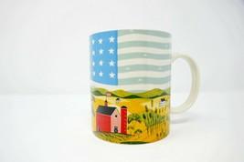 American Flag And Farmland Ceramic Coffee Mug USA Heartland - $13.95