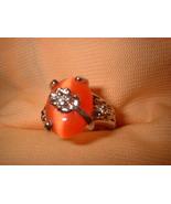 Carnelian Orange Flower Ring  Bargain Bin Under $10.00 - $5.99