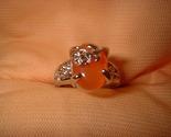Flower ring orange small stone 6.5 or 8. tangerine thumb155 crop