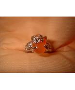 Tangerine Flower Ring  Bargain Bin Under $10.00 - $5.99