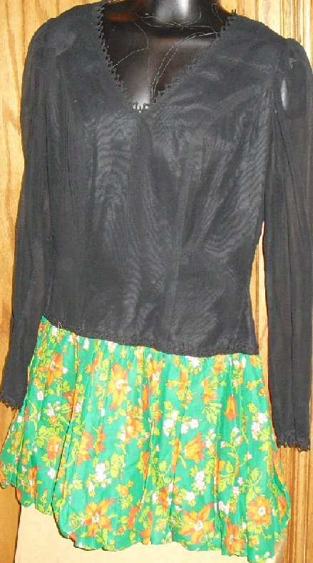 Vtg 70s MOD Mini Dress colorful bubble skirt