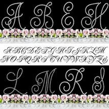 Monogram Cake Toppers Bling Cake Topper Real Crystals Silver A-Z Any Letter - $12.03+