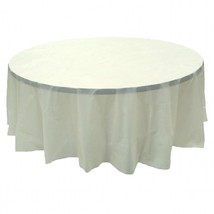 "6 PACK, 84"" Ivory Round Plastic Table Cover, Economy Table Cloth Reusable - $15.83"