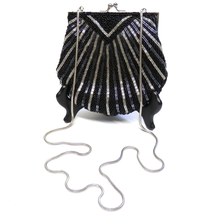 Beaded Purse Evening Bag Convertible Clutch with Chain Stra Black & Silv... - $20.00