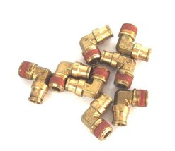 """LOT OF 8 NEW BRASS QUICK CONNECT MALE ELBOW FITTINGS 3/8"""" NPT X 1/4"""" OD image 1"""