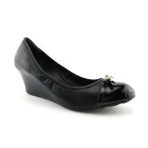 COLE HAAN Size 10 Black Leather N Air Cap Toe Wedge Heels Shoes - $49.00