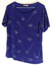 Sparkly NOTATIONS PETITE Dress SHIRT Dark Blue Shooting Stars Silky Stre... - $14.95