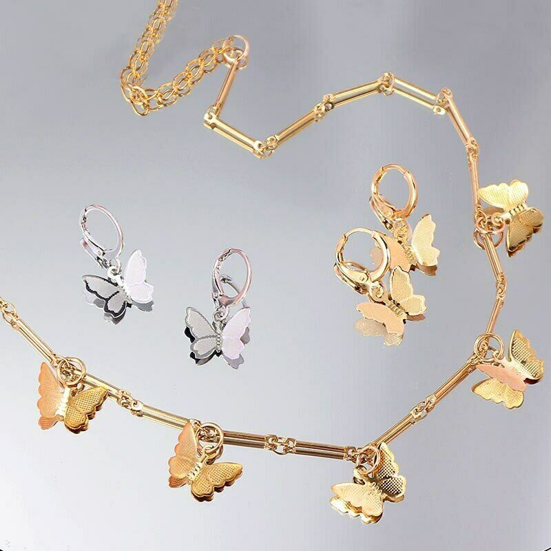 Primary image for Gold Butterfly Necklace Hoop Drop Dngle Earrings set for Women Girls Party Gifts