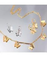 Gold Butterfly Necklace Hoop Drop Dngle Earrings set for Women Girls Par... - $19.75
