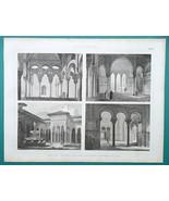 ARCHITECTURE Moorish Mosques Cordoba Sevilla Alhambra - 1870 Engraving P... - $16.20