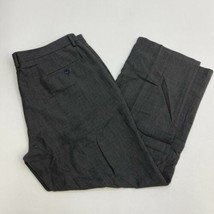 Haggar Dress Pants Mens 40X30 Gray Black Tailored Fit Straight Leg Slash... - $18.95