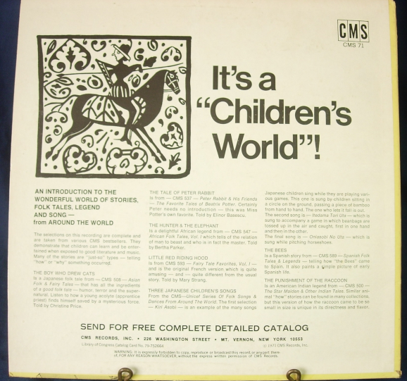 "It's a ""Children's World""! - Storytelling LP - CMS Records CMS 71"