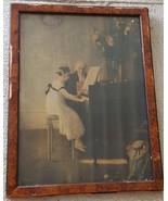 Beautiful Antique Artwork Print - Gorgeous Veneer Frame Fair Condition N... - $59.39