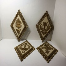 Vintage 4 Piece 1971 HOMCO Gold Diamond Shaped Wall Plaques 7224 7225 72... - $19.34