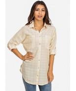 Ellison button up cuffed quarter sleeve shirt  - $13.99