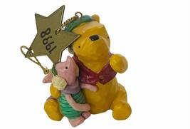 Walt Disney Christmas Ornament Winnie Pooh Figurine 1998 Piglet star hol... - $19.25