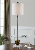 "LATON 35"" BRASS PLATED METAL BUFFET TABLE LAMP CRYSTAL BASE MID CENTURY ... - $237.60"