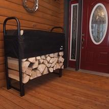 Covered Firewood Rack Outdoor Wood Holder Heavy Duty Steel Bin Log Holde... - $86.38
