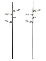 Floor-to-Ceiling All-in-One Laundry Pole - Set of 2, Gray - £22.12 GBP