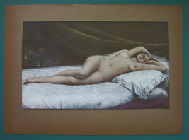 NUDE Young Woman Sleeping Sweet Dreams - COLOR Typogravure Print - $30.60