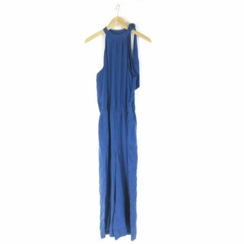 M - Cloth & Stone Anthropologie Blue Halter Tie Neck Sleeveless Jumpsuit 0000MB