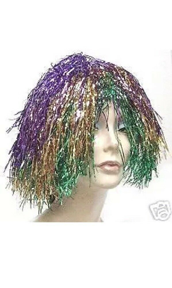 Primary image for Purple Gold & Green Metallic Mylar Mardi Gras WIG carnival clown doll costume
