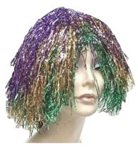 Purple Gold & Green Metallic Mylar Mardi Gras WIG carnival clown doll co... - $8.04 CAD