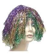 Purple Gold & Green Metallic Mylar Mardi Gras WIG carnival clown doll co... - £4.62 GBP