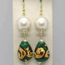 GOLD EARRINGS YELLOW 750 18K PEARLS FW DROP HAND-PAINTED MADE IN ITALY image 1