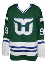 Any Name Number Whalers Retro Hockey Jersey Green Gordie Howe #9 Any Size image 1