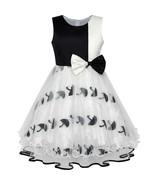 Flower Girl Dress Bow Tie Black White Color Contrast Umbrella Sundress 2018 - $24.54+
