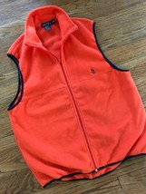 1990s Mens 90s Nautica Full Zip Front Collared Orange & Navy Fleece Vest... - $48.37