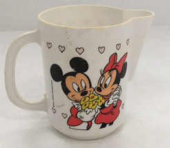 vintage Walt Disney productions plastic toy pitcher  Mickey and Minnie graphics - $9.89