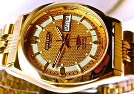 NEW Old Stock Men Automatic 21 Jewels CITIZEN Gold & Gold Dial Watch - $118.79
