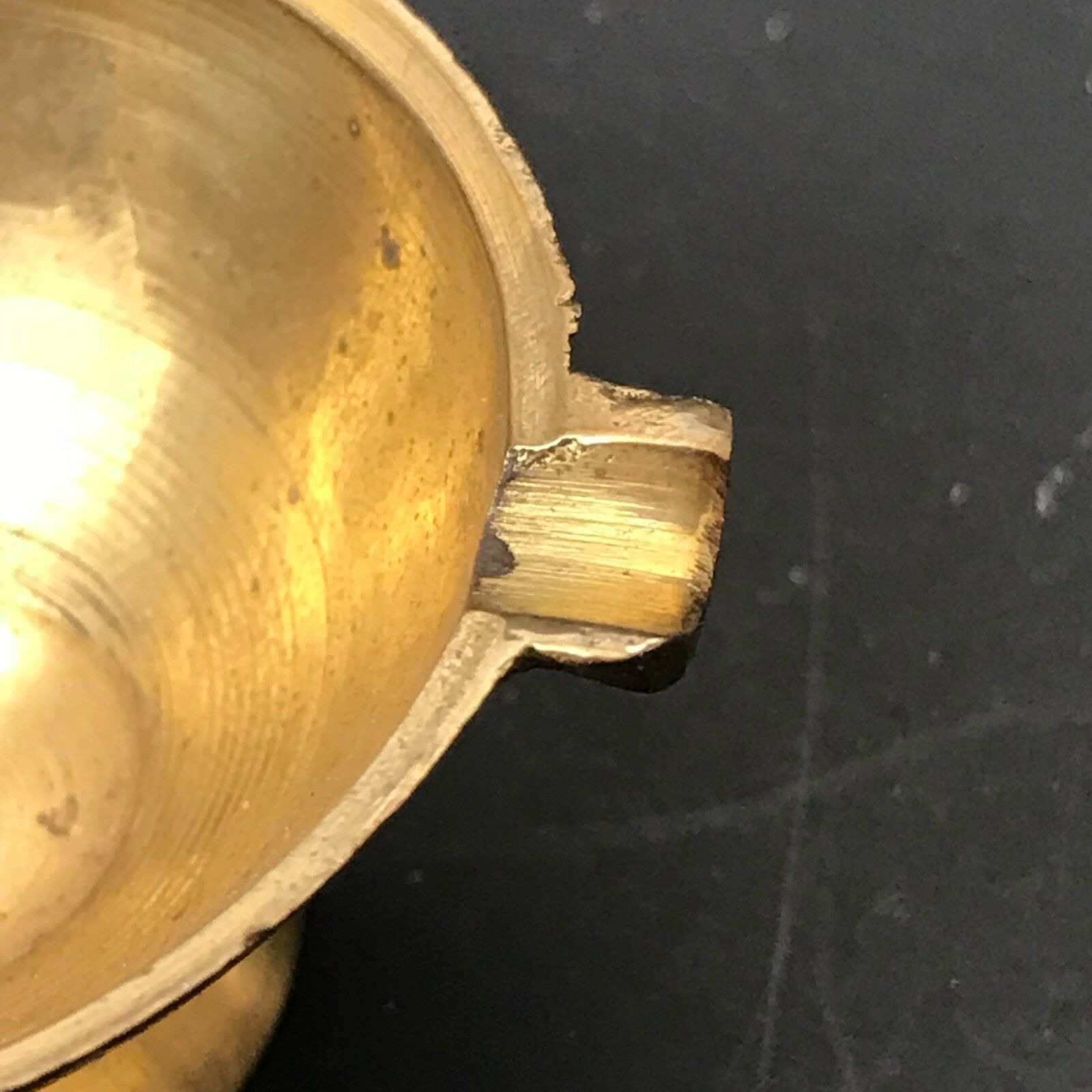 Vintage Miniature Brass Ornament Christmas Mini Ashtray With Handle Gold Patina image 7