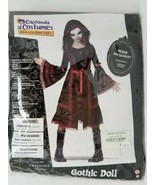 Goth Doll Costume Cosplay Dress Up Black and Red Lace Mask Tween XL  - $16.82