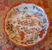 JAPAN HAND PAINTED BERRY RICE SIDE DISH BOWL GEISHA SCENE GOLD GILT VINT... - $17.99