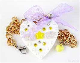 Fairy Kei Heart Necklace, Decoden, Gold, Harajuku Fashion, Jfashion, Kawaii - $23.00