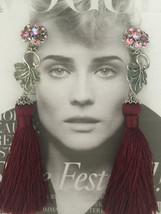 AURORA BOREALIS Vintage LISNER Silver Plated Merlot Rhinestones clip on ... - $75.00
