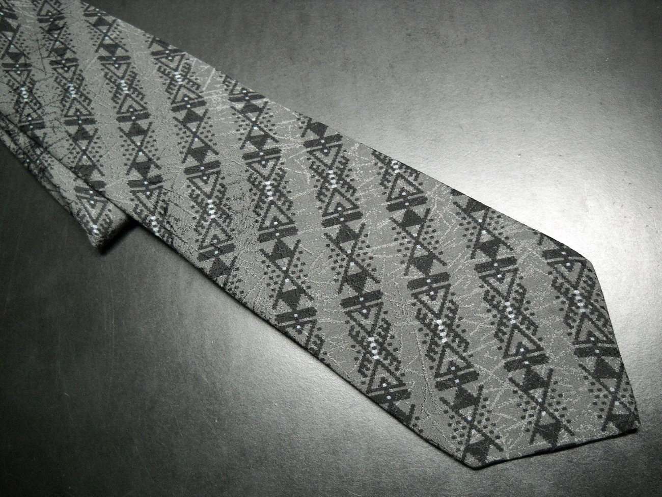 Gianni Versace Neck Tie Stripes in Black and Greys Silk Hand Made in Spain