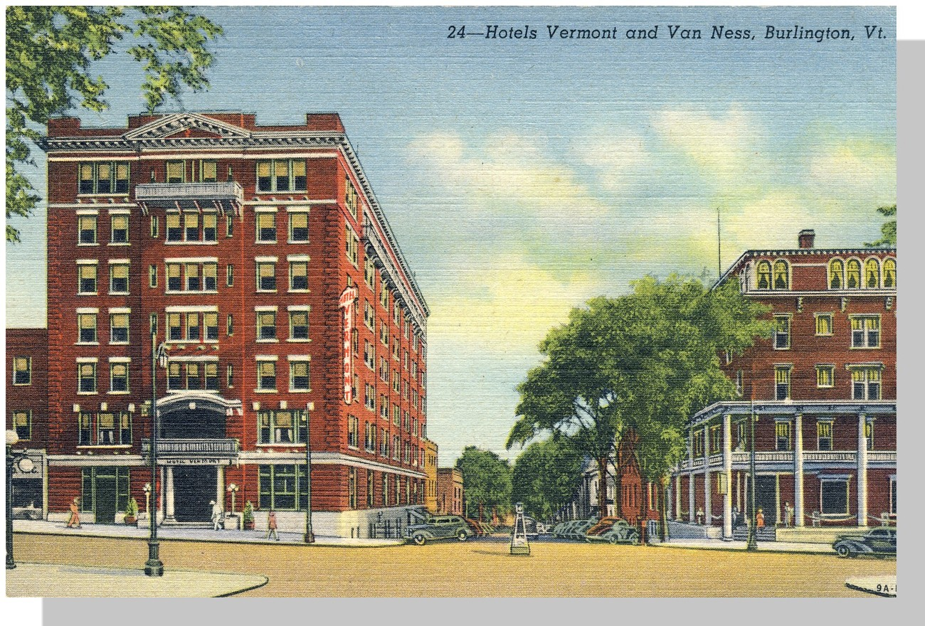 Burlington, VT Postcard, Vermont/Van Ness Hotels