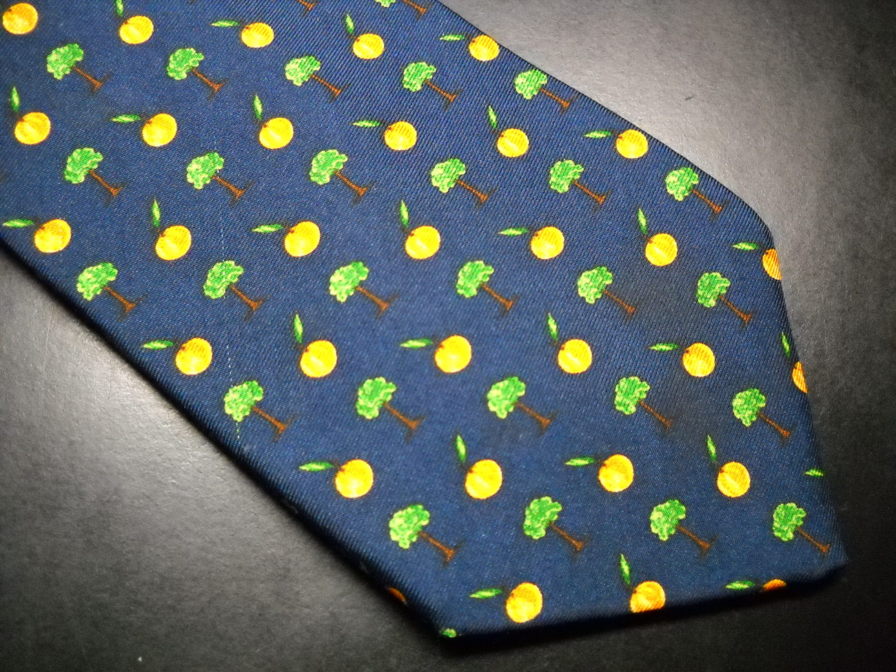 Brooks Brothers Makers Neck Tie Blue with Peach Trees