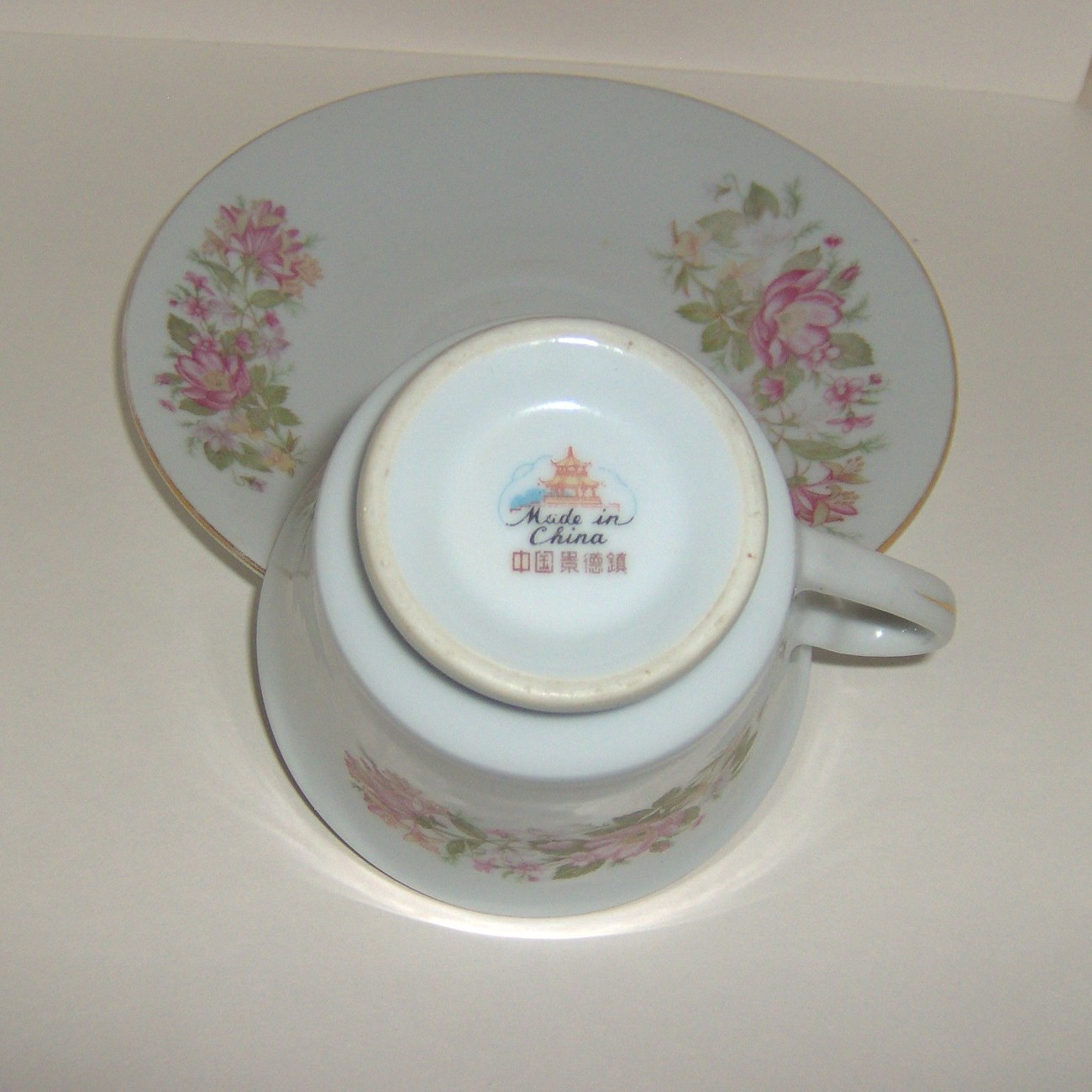 China Teacup and Saucer Set with Delicate Pink Flowers