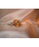 Yellow Cats Eye Flower Ring Size 7  Bargain Bin Under $10.00 - $5.99