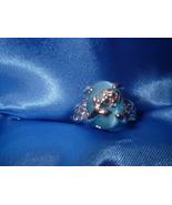 Aqua Cats Eye Flower Ring Size 7  Bargain Bin Under $10.00 - $5.99