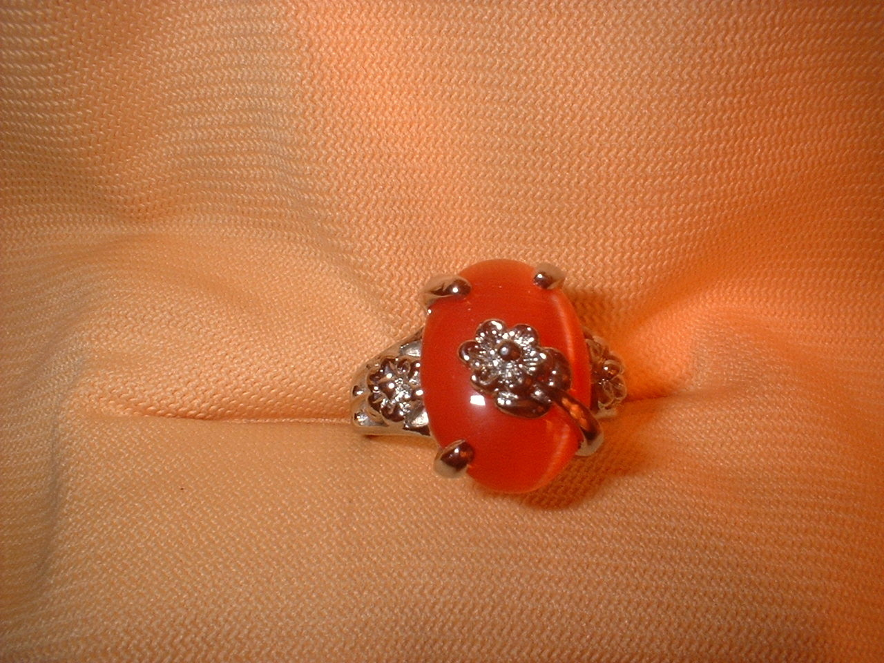 Fire Orange Flower Ring  Bargain Bin Under $10.00