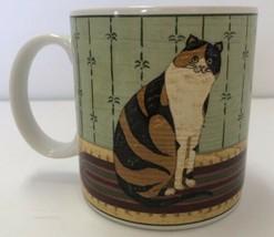 Warren Kimble Cat Collection Sakura Orange & Black Cat Coffee Mug Cup 2000 - $14.84